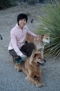 Joyce with her non-tax-deductable dependents, ie. the two rescue dogs who saved her!